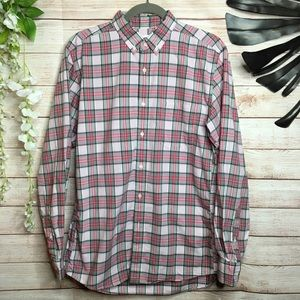 Uniqlo pink and mint plaid buttons down shirt M